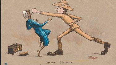Aggressive, bullying exchange in Cairo. 1916 postcard.