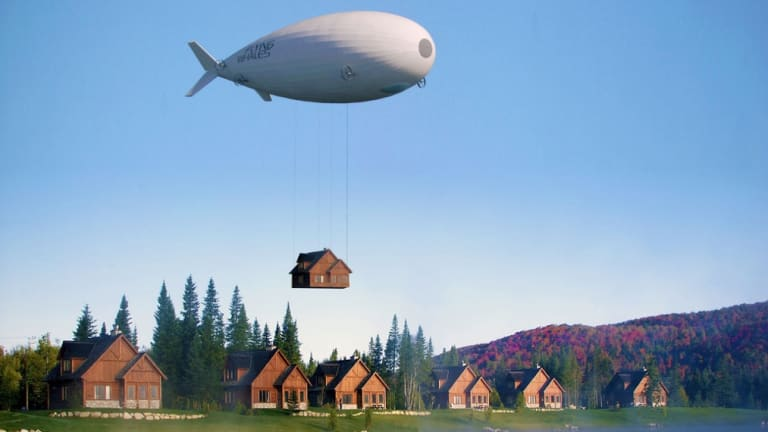 What's different about the Flying Whale is the combined benefit of the blimp being able to lift an industry-leading 60 tons, but without any requirement for mooring pylons.
