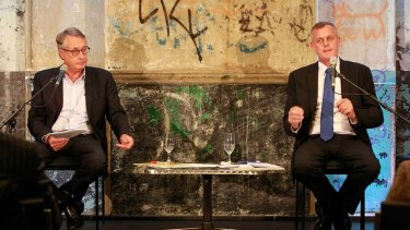 Rod McGarvie (right) and Wayne Swan at a Brisbane Times debate prior to the 2013 federal election.