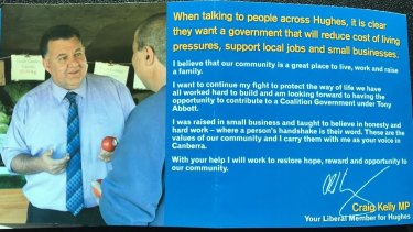 Mr Kelly handed out these flyers at a train station in his electorate on May 20.
