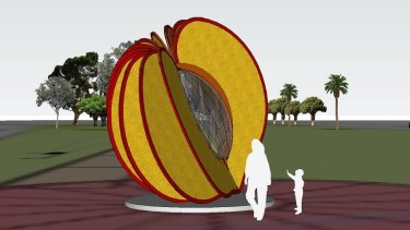 An artist's impression of Cobram's giant peach.