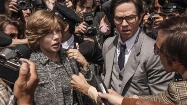 Golden Globe contender Michelle Williams, left, and Mark Wahlberg in All the Money in the World.