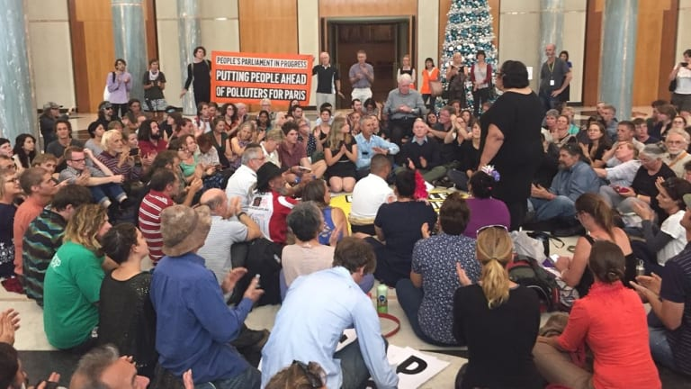 Protesters stage a sit-in at Parliament House on Wednesday.