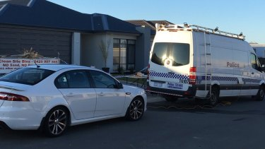 The scene outside a Yanchep home where two young children were killed.
