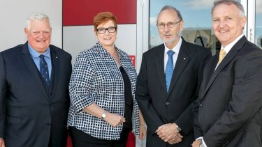 CEA Technologies co-founder David Gaul, Defence Minister Marise Payne, technical director and co-founder Ian Croser, and  chief executive Merv Davis.