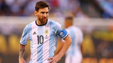 Missed penalty: Lionel Messi was left rueing a missed penalty in the shootout as Argentina lost for a second successive year to Chile in penalties.