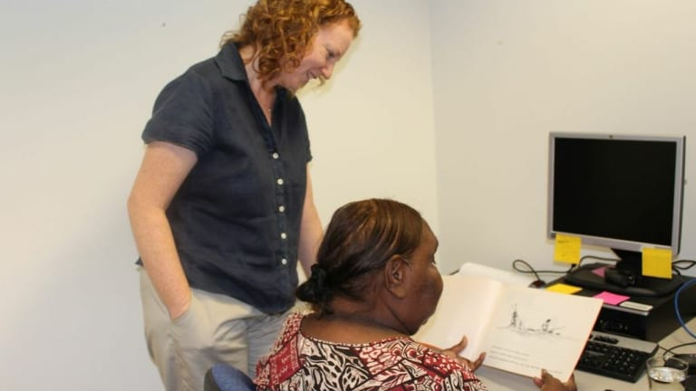 Jeannie Nungarrayi recording a Warlpiri book, with Cathy Bow, at The Living Archive of Aboriginal Languages.
