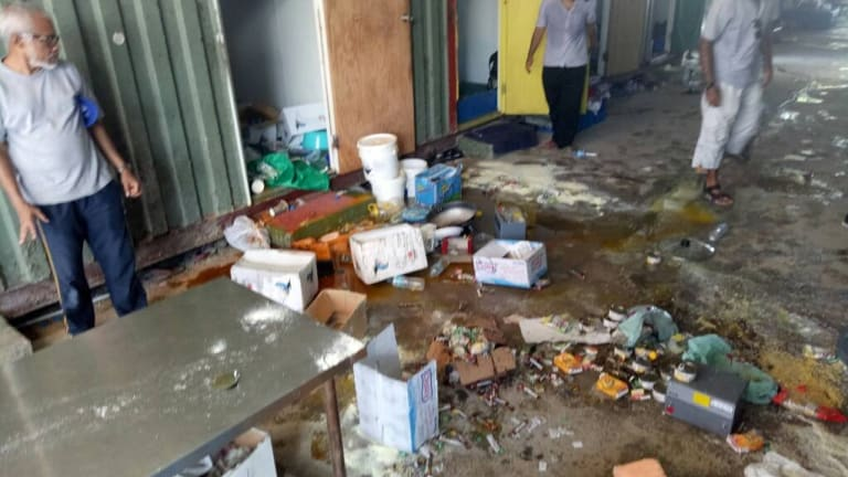 A photo uploaded by a Manus refugee which he said showed PNG authorities destroying property.