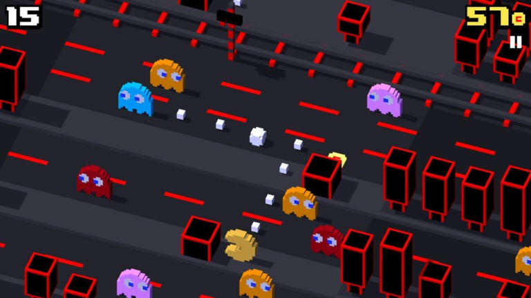 Pac-Man stars in the latest free update to <i>Crossy Road</i>, turning all the obstacles into ghosts.