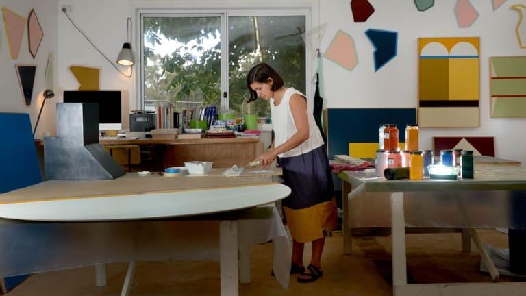 Artist Esther Stewart, who won the Sulman Prize, in her studio in Daylesford.