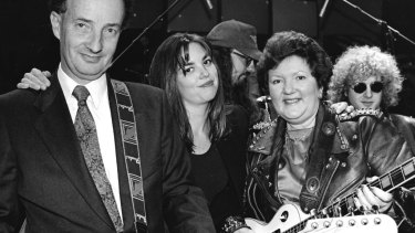 Joan Kirner as Joan Jett with David White & Jane Kennedy on ABC's <i>The Late Show</i>.