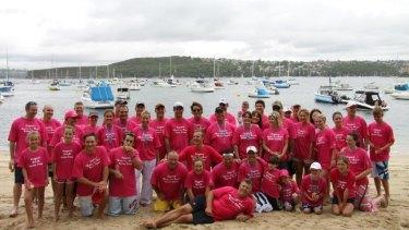 "The ""Builders Love Boobs"" swim team in 2010."