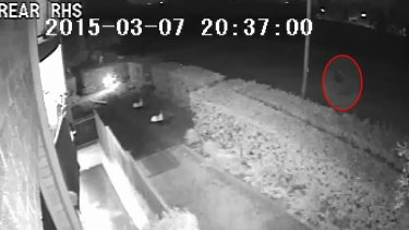 CCTV showing a mysterious figure walking past Parramatta Golf Course on the night of Prabha Kumar's death.