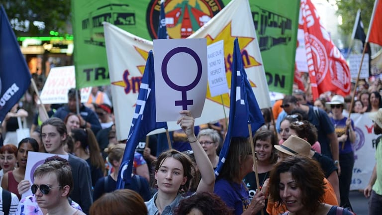 A demonstration against discrimination and violence at an International Women's Day rally last year.