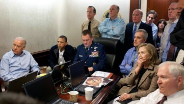 US President Barack Obama and then Secretary of State Hillary Clinton and staff watch live the raid that killed Osama bin Laden in 2011.