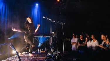 Bouncing barefoot, the Melbourne powerhouse truly left a mark on Sydney's Newtown Social Cluby.