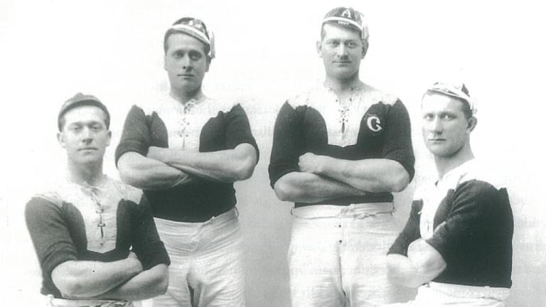 The famous Burge brothers, resplendent in their Glebe jerseys. From left: Laidley, Peter, Albert and Frank.  Credit: Ian Collis Library