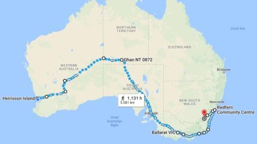 A map of Clinton Pryor's intended route. He is now in Melbourne.