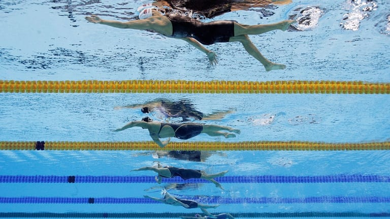 (From top) Kylie Masse of Canada, Kathleen Baker of the US, Katinka Hosszu of Hungary, Yuanhui Fu of China and Matea Samardzic of Croatia compete in the second Semifinal of the Women's 100m Backstroke at the Rio Olympics.