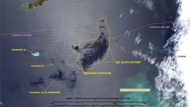 A NASA image from September 2009 shows the extent of the oil slick created by the Montara oil spill in the Timor Sea. Part of West Timor in Indonesia can be seen at the top of the image.