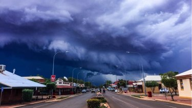Police in Leonora, 830km north-east of Perth, tweeted this picture of a massive thunderstorm rolling into town on Monday.