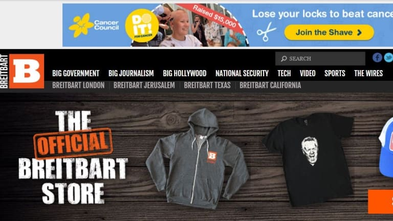 Cancer Council ads appeared on the Breitbart News Network website due to programmatic advertising. The site has since been added to a blacklist.