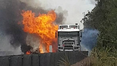The fiery crash on the M1 on Monday that left one person dead.