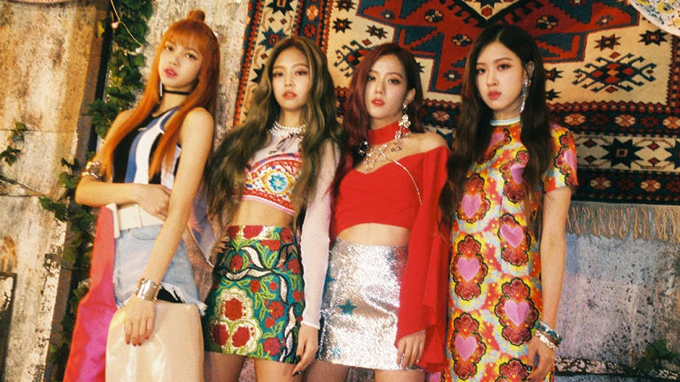K-pop girl group BlackPink featuring Melbourne singer Roseanne Park, aka Rosé (far right) with (from left) Lisa, Jennie and Ji Soo.