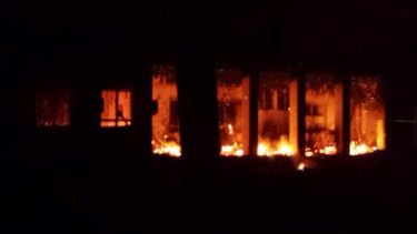 During: flames inside the MSF hospital's trauma centre in Kunduz.