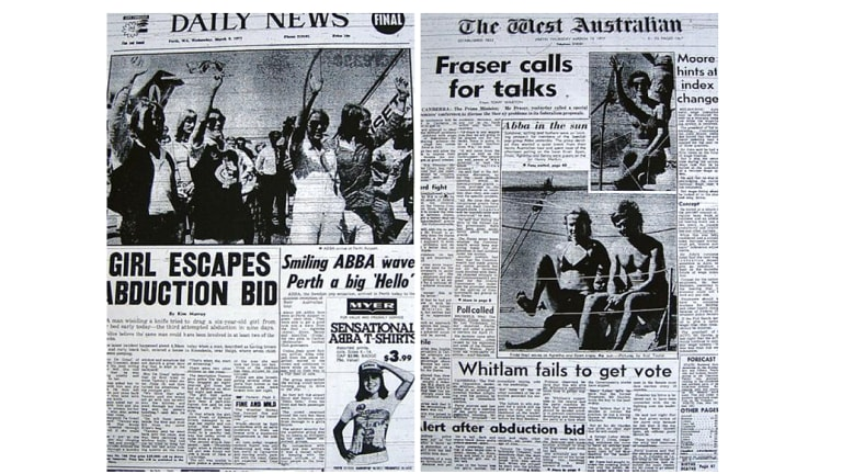 Frontpages of Perth newspapers covering ABBA's appearances in the city.