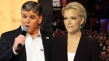 Fox presenters Sean Hannity, left, and Megyn Kelly have traded barbs over the election.