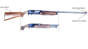Court supplied sketch of the ageing Le Salle 12 gauge sawn-off shotgun used by Monis during the siege.