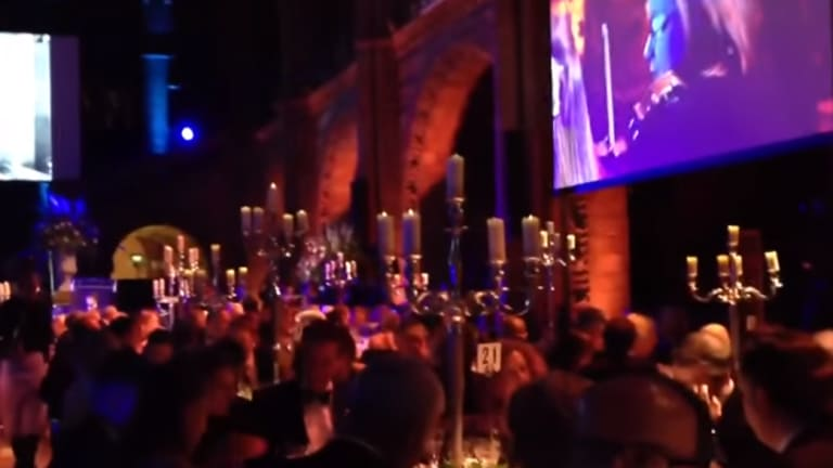 The scene from inside the London gala dinner.
