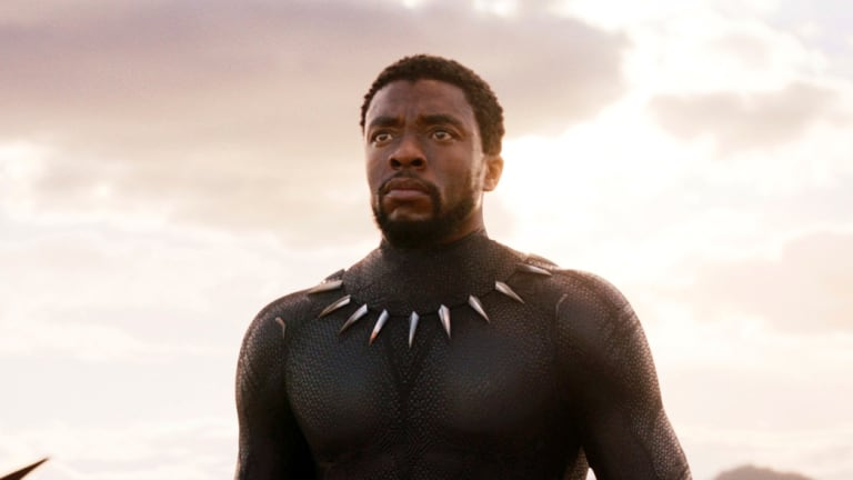 """""""An incredibly serious and charismatic actor but he also has a deep-seated knowledge and curiosity about African culture"""": Chadwick Boseman in <i>Black Panther</i>."""