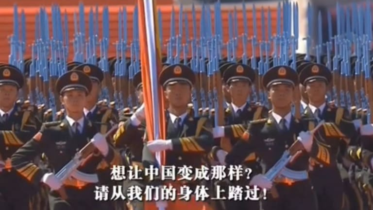 The propaganda film employs numerous images of China's armed forces.