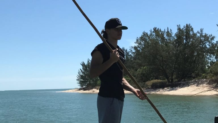 Daniel Rioli enjoys an afternoon spearfishing at Melville Island.