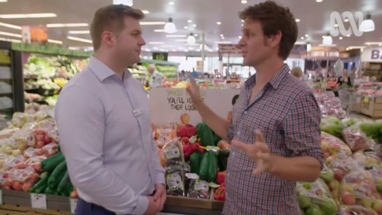 Craig Reucassel urges a Woolworths executive to test if shoppers genuinely reject ''ugly'' fruit.