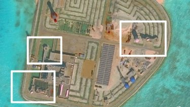 A recent satellite picture of weapons on one of the islands in the South China Sea.