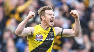 Jack Riewoldt celebrates his goal in the fourth term.