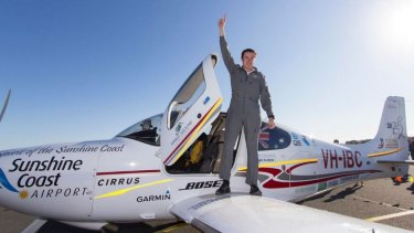 Lachlan Smart lands at Maroochydore Airport, where his journey began 54 days prior.