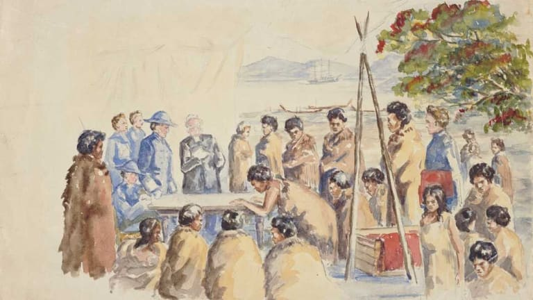 A painting showing the signing of New Zealand's Treaty of Waitangi in 1840. Britain's decision to secure sovereignty over NZ was partly motivated to protect the Maori.