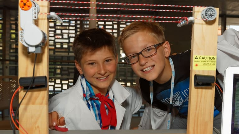 International Grammar School students Max Braun (left) and Jonas Meyer with their invention, known as Captain Underpants.