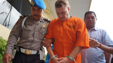 David Van Iersel at Denpasar police station on Tuesday.