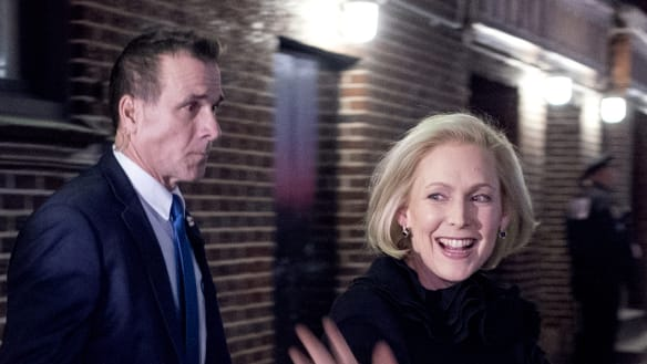 "Senator Kirsten Gillibrand leaves the after taping ""The Late Show with Stephen Colbert"", during which she announced that she is forming an exploratory committee."