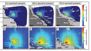Computer simulations showing how tsunamis, caused by submarine landslides, would have impacted the reef in the past.