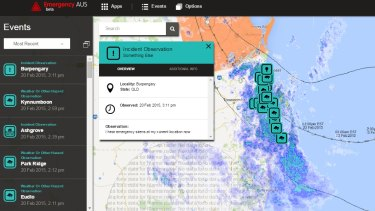 Emergency AUS: Observations from Queenslanders are overlaid with real-time mapping from the Bureau of Meteorology as Cylone Marcia batters the coast.