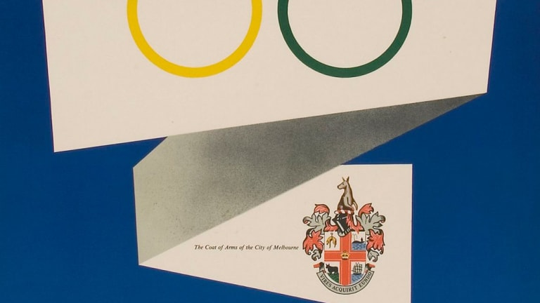 The 1940 crest, incorporating a knight's helmet, achieved mass appeal during 1956 Olympics.