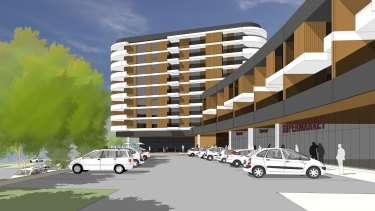 Initial concept drawings for the Denman Prospect shops including terrace-style apartments above the retail space and an apartment block, shown here with eight storeys but which the developer says will be five to six storeys.