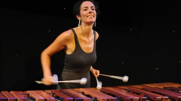 Orchestral percussionist Claire Edwardes explored complex resonances on cow bells and steel drum.