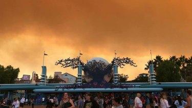 The fire has darkened the skies at Disneyland, Anaheim.